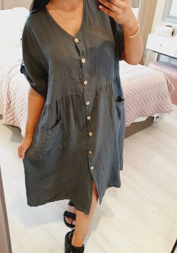 Daisie Oversized Linen Deep Pocket Dress