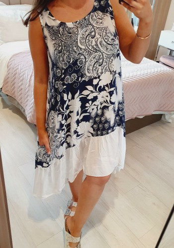 Sibble Floral Patterned Frill Dipped Hem Loose Fit Dress