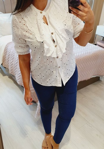 Libra Embroidery Anglaise Ruffle Detailed Blouse