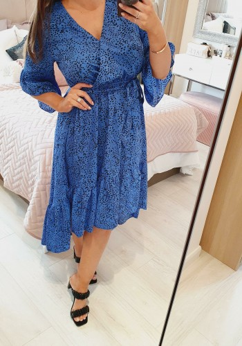 Inesa Royal Blue Wrap Frill Tie Waist Detailed Printed Dress