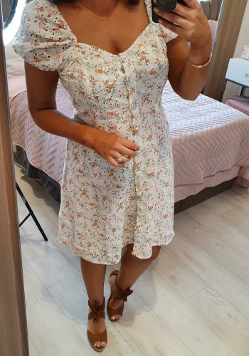 Lindsey Floral Embroidery Anglaise Puff Sleeve Button Dress