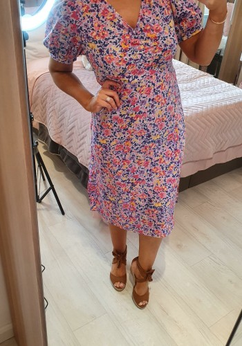 Emerson Lilac Rouched Puff Sleeve Floral Swing Dress