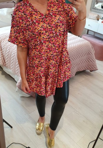 Orchid Smock Floral Print Asymmetric Top