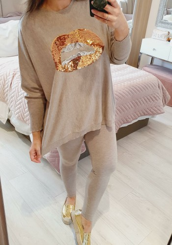 Zoey Gold Sequin Lips Loose Fit Knitted Loungewear Set