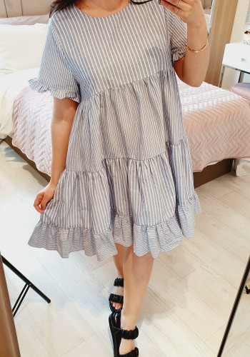 Nia Baby Blue Striped Ruffle Detailed Tiered Dress
