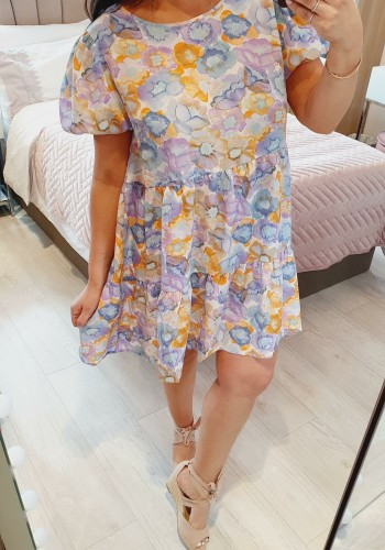 Chad Puff Sleeve Watercolour Floral Print Tiered Dress