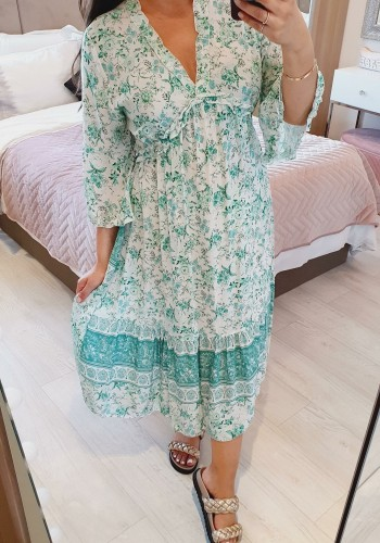 Ramsey Floral Rouched Bell Sleeve Maxi Dress