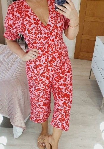 Britt Floral Print Pink And Red Cropped Puff Sleeve Jumpsuit