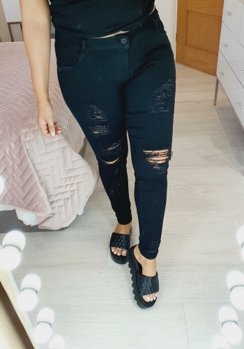Bowie Distressed Black Ripped Skinny Jeans