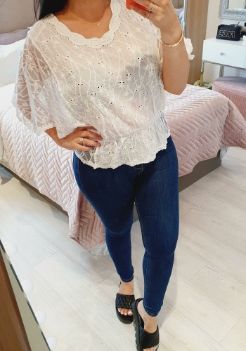 Burrows White Lace Batwing Detailed Top