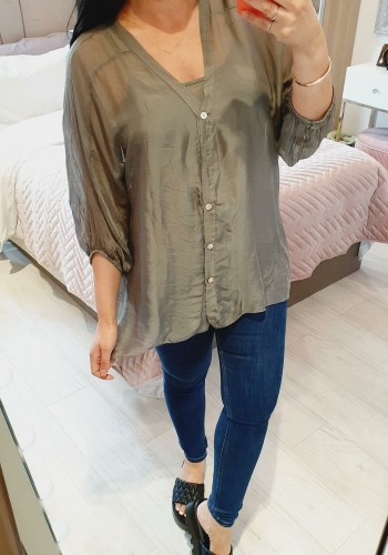 Eren Silky Double Layered Plain Button Loose Fit Blouse