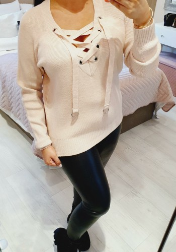 Zaria Knit Criss Cross Ribbed Detailed Jumper