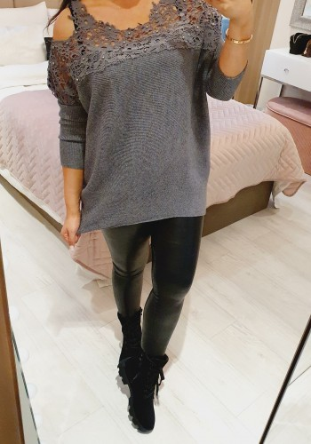 Maxinie Crochet Studded Cold Shoulder Ribbed Knit Jumper