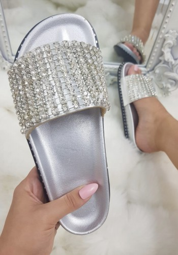 Elveena Silver Studded Diamante Sliders