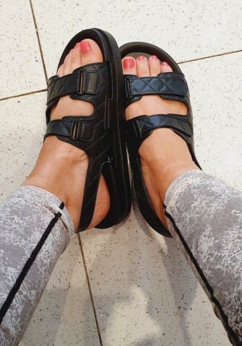Tian Black Quilted Design Sandal