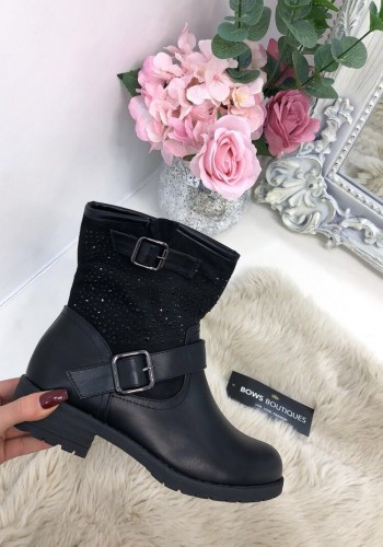Brazil Black Diamante Buckle Biker Boots
