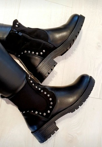 Desire Diamante Studded Faux Leather Biker Boots