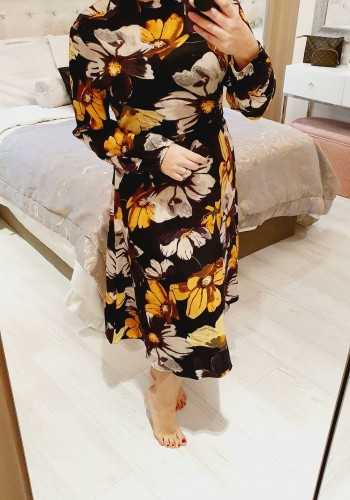 Marsella Mustard Floral Printed Midi Swing Dress
