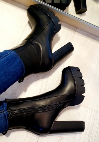 Mckinley Black Faux Leather Chunky Heel Boots
