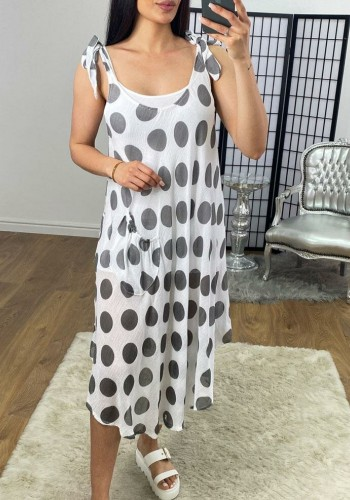Alannah Polka Dot Two Piece Double Layer Scoop Pocket Dress