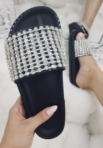 Elveena Black Studded Diamante Sliders