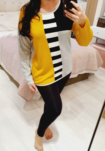 Gabbie Mustard Ribbed Stripe Detail Thin Knit Jumper