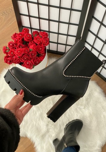 Gallery Black Faux Leather Studded Heel Boots
