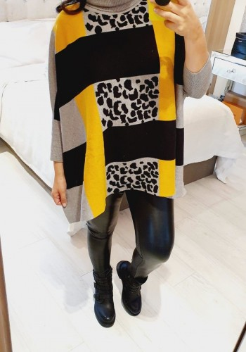 Honey Leopard Colour Block Oversized Roll Neck Knit Jumper