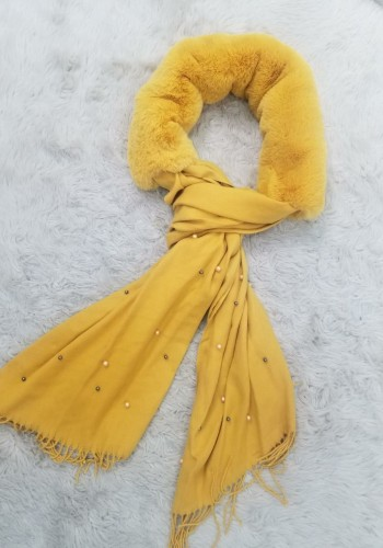 Gracien MUSTARD  Pearl And Faux Fur Detail Scarf