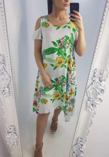 Angel Cold Shoulder Floral Print Dress
