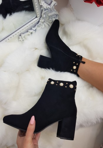 Arielle suedette pearl detailed heeled ankle boots