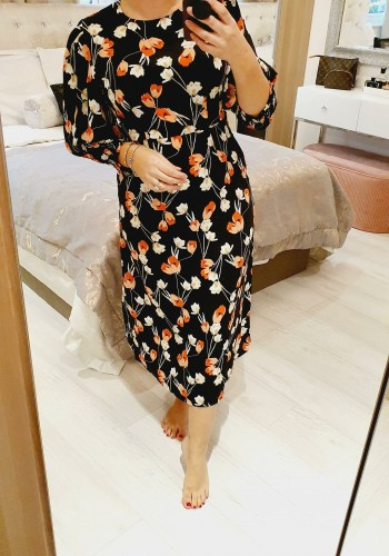 Kiran Floral Black Elasticated Puff Sleeve Midi Dress