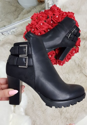 Tansy Black Side Buckle Heeled Ankle Boots
