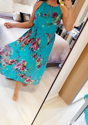 Tao Pleated Floral Midi Floaty Dress