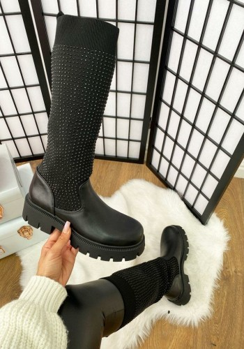Abena Black Studded Faux Leather Sock Boots
