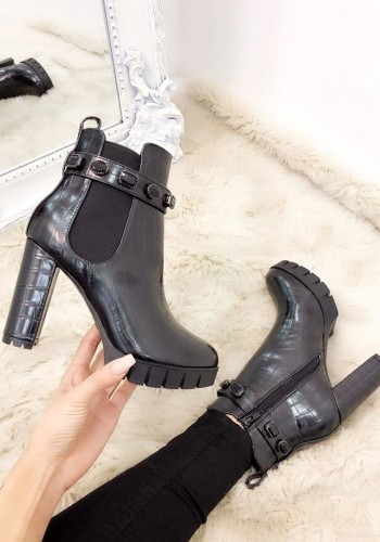Adalia Black Croc Effect Chunky Jewel Boots