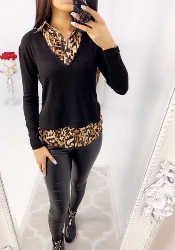 Adly Leopard Print Shirt Cable Knit Jumper
