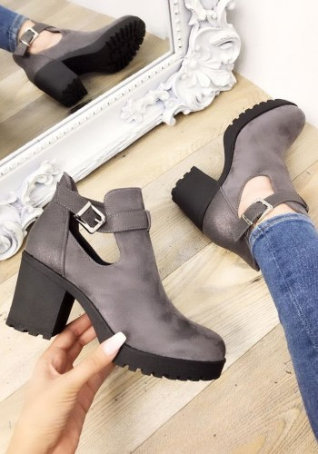 Adora Grey Faux Suedette Buckle Heel Ankle Boots