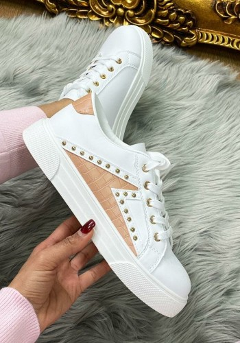 Alenie Studded Croc Faux Leather Colour Block Trainers