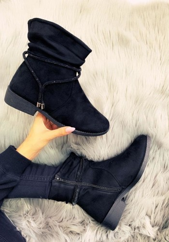 Alanis Faux Suede Rouched Diamante Ankle Boots