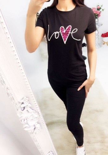 "Alexandra Sequin ""Love"" Slogan T-shirt"