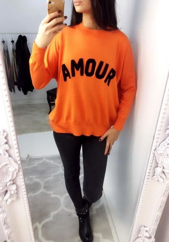 Marianna Neon Orange Amour Slogan Jumper