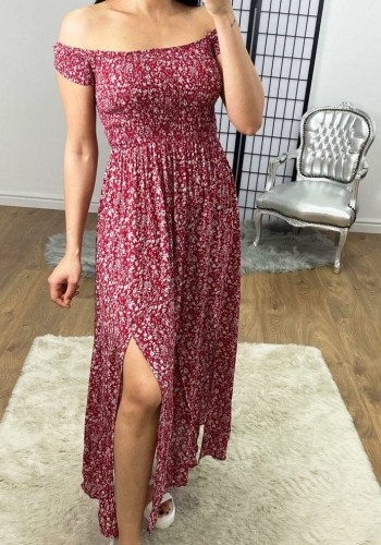 Andora Red Floral Bardot Elasticated Split Maxi Dress