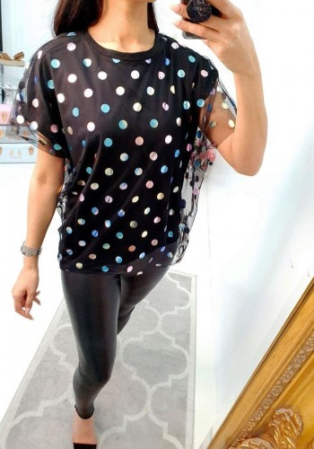 Annie Black Metallic Multicolour Polka Dot Top