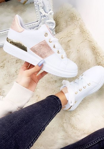 Arna Snake Print White Lace Up Trainers