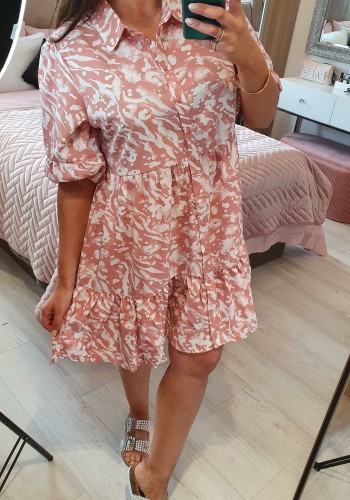 Athenea Marble Print Smock Shirt Dress