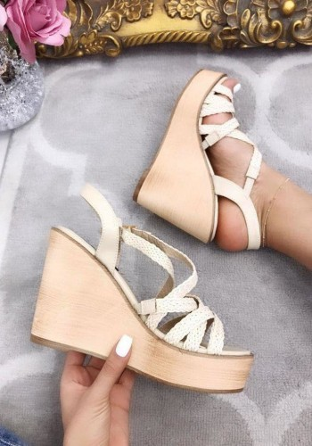 Ava Woven Criss Cross Peep Toe Wedges