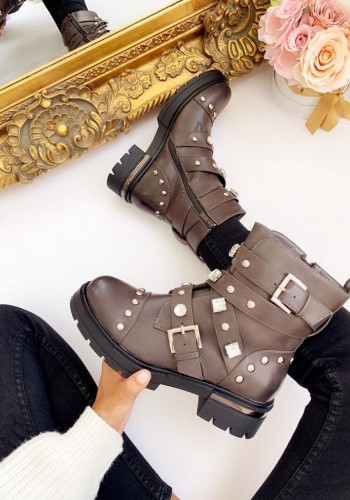 Avani Grey Chunky Jewelled Biker Boots