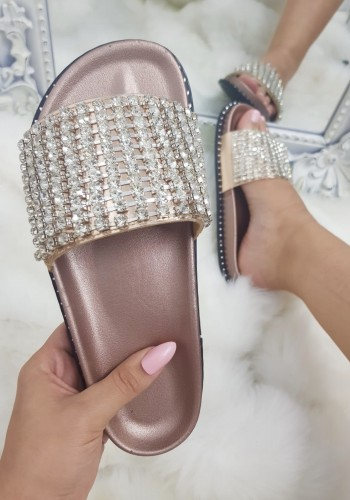 Elveena Champagne Studded Diamante Sliders