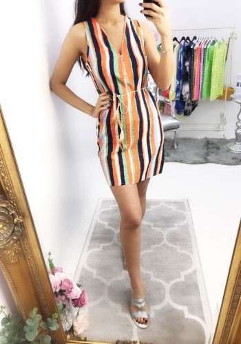 Belva Striped Zip Waist Tie Dress